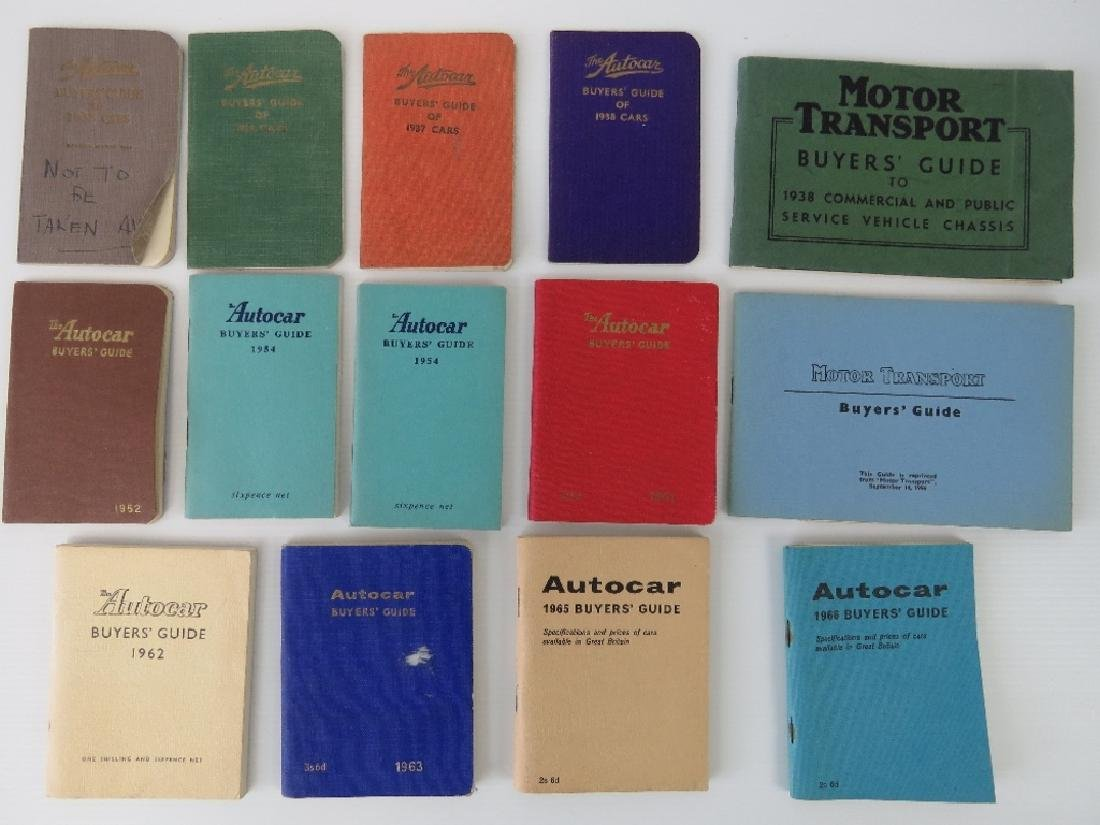 A rare collection of old Autocar Buyer's Guides
