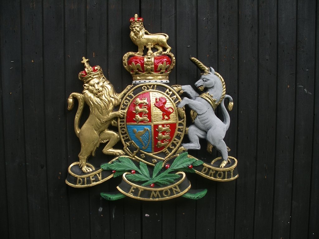 Hand painted fibreglass Royal Endorsement Coat of Arms