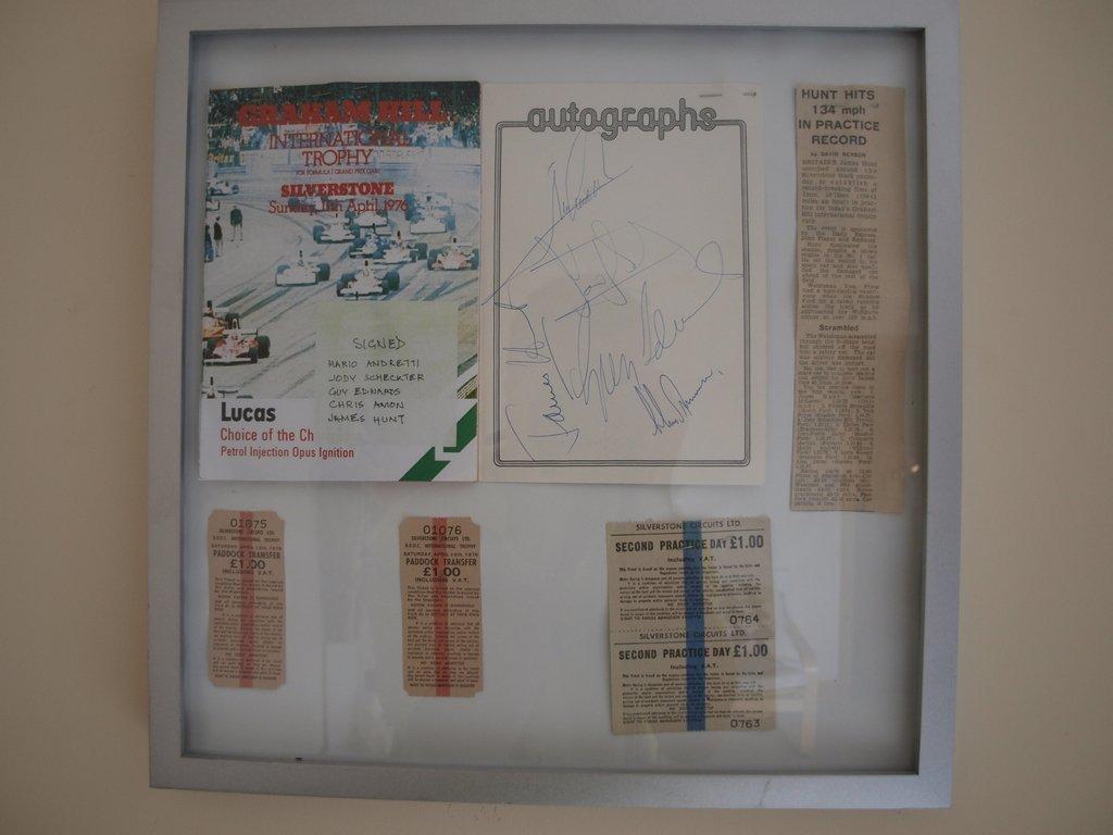 A unique piece of James Hunt F1 Memorabilia