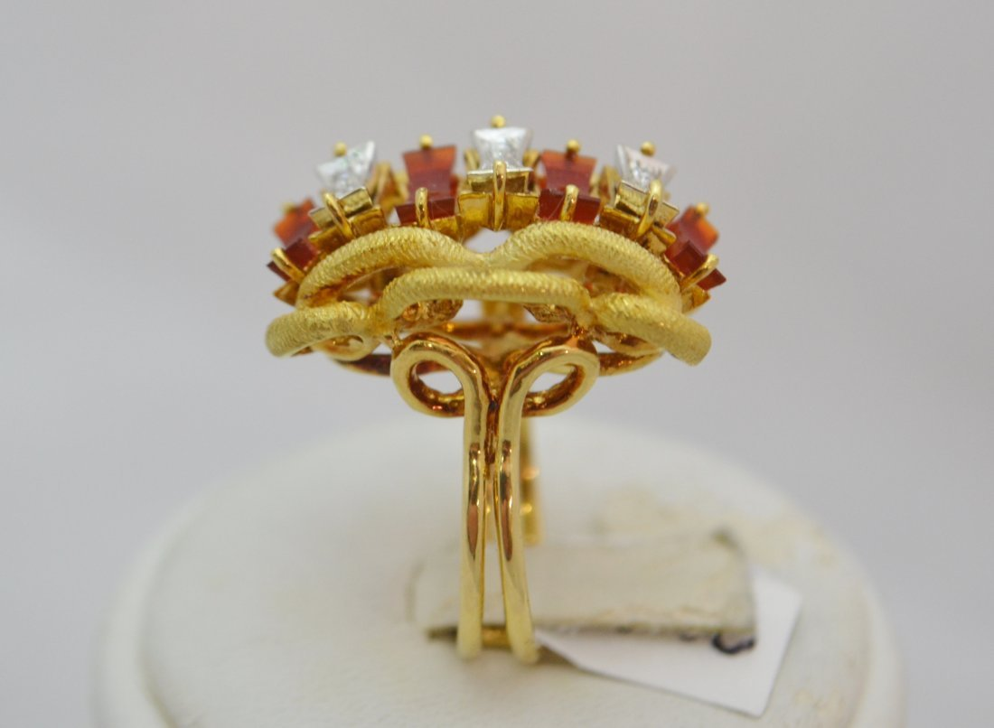 18K Gold Rare Carnelian & Diamond  Ring