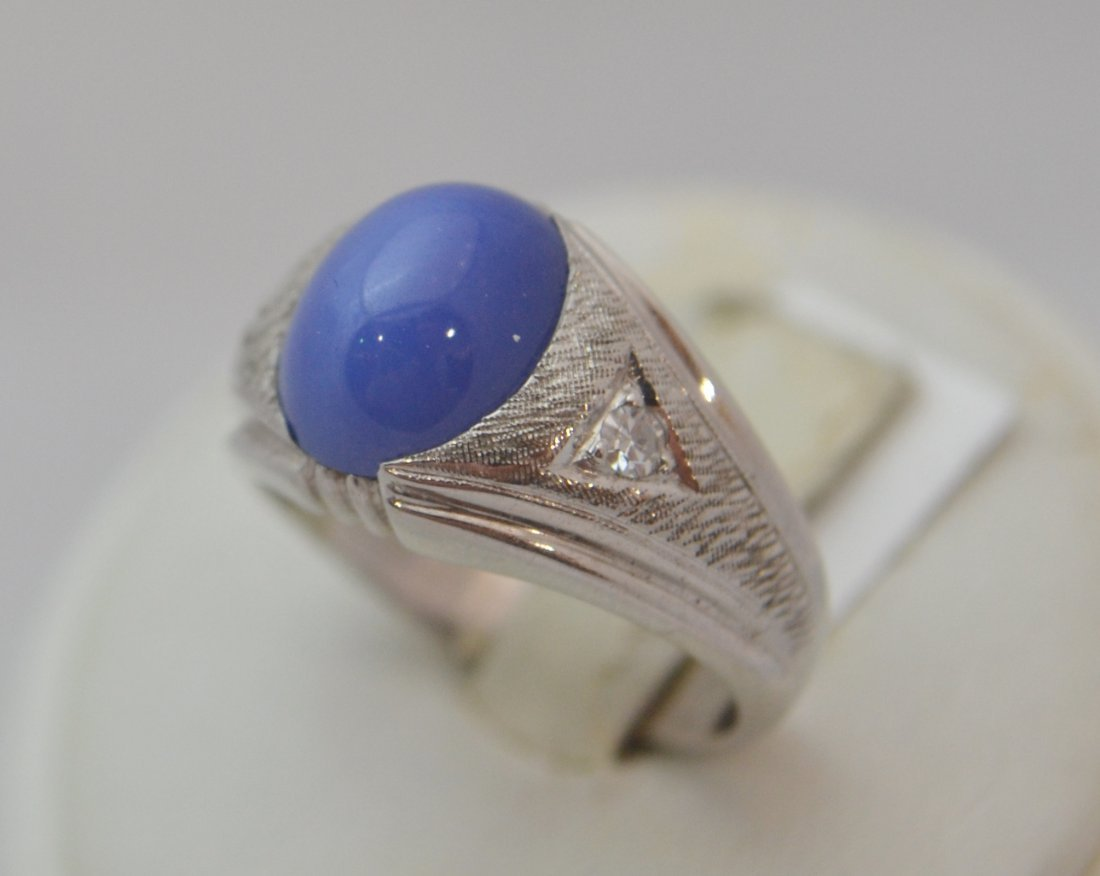 14K WG Linde Star Sapphire Synthetic w Diamonds Ring