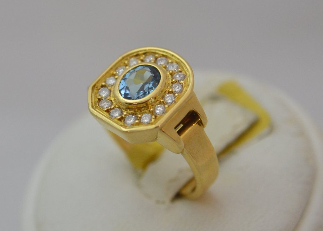 18K Gold Aqua Ring and /Diamond