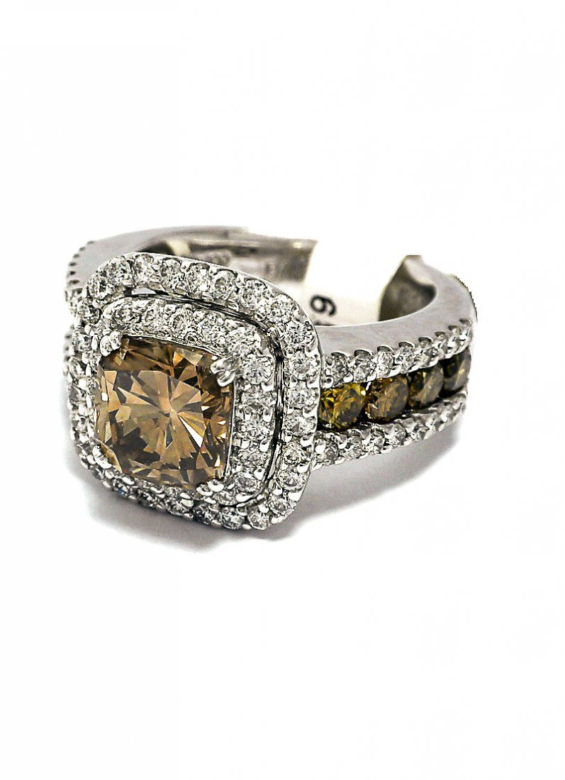 Custom Platinum ring with Spectacular Cognac  Diamond