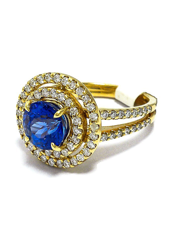 18KT yellow gold & Tanzanite ring