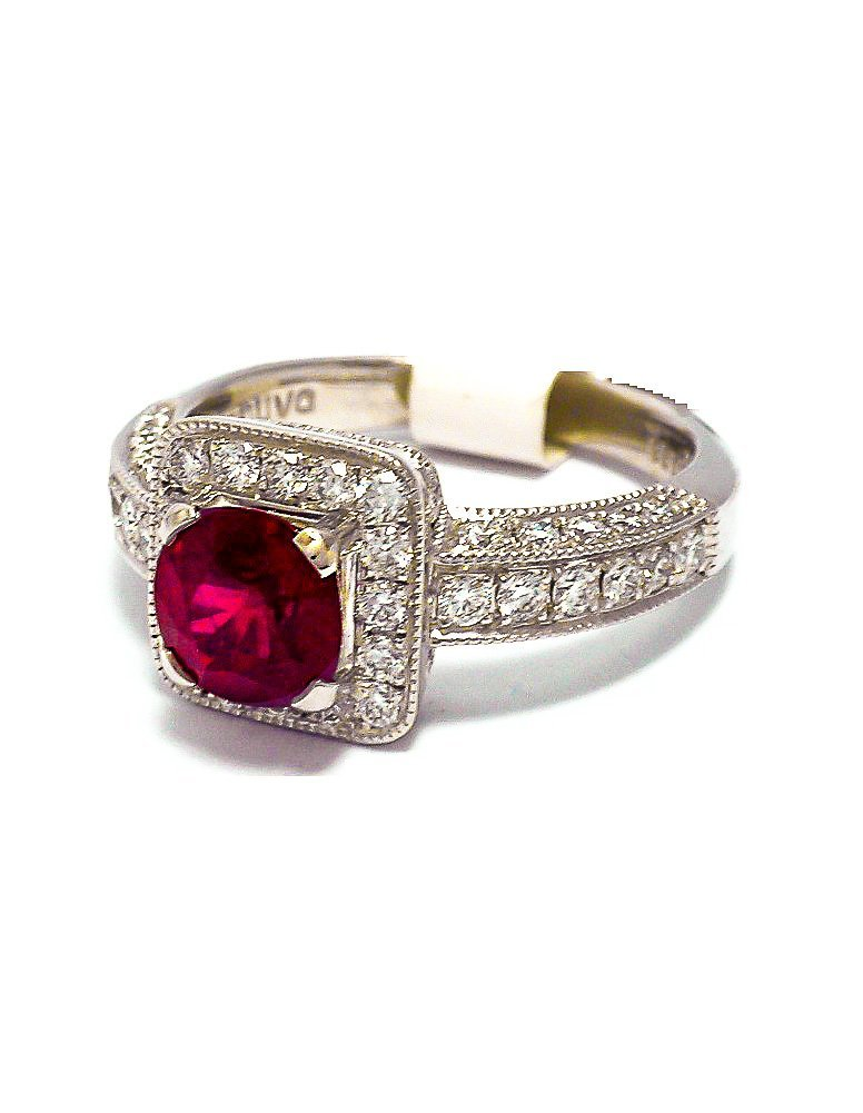 Platinum Ruby and diamond custom ring