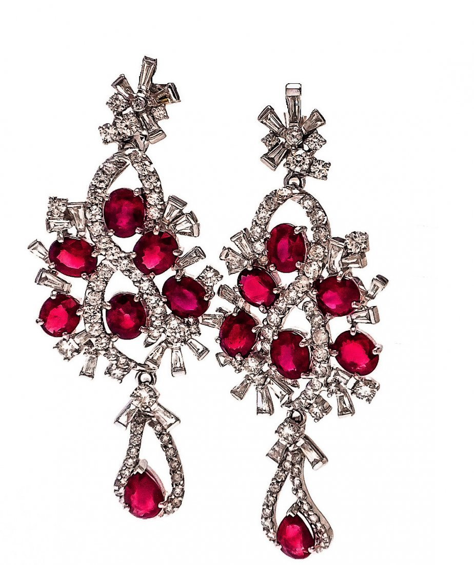 Spectacular 18KT Ruby & Diamond Earrings