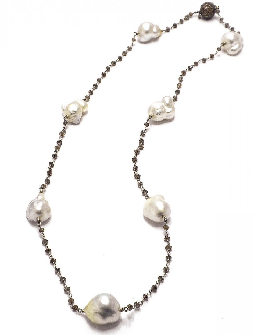 Keshi Pearl & Cognac Diamond Necklace