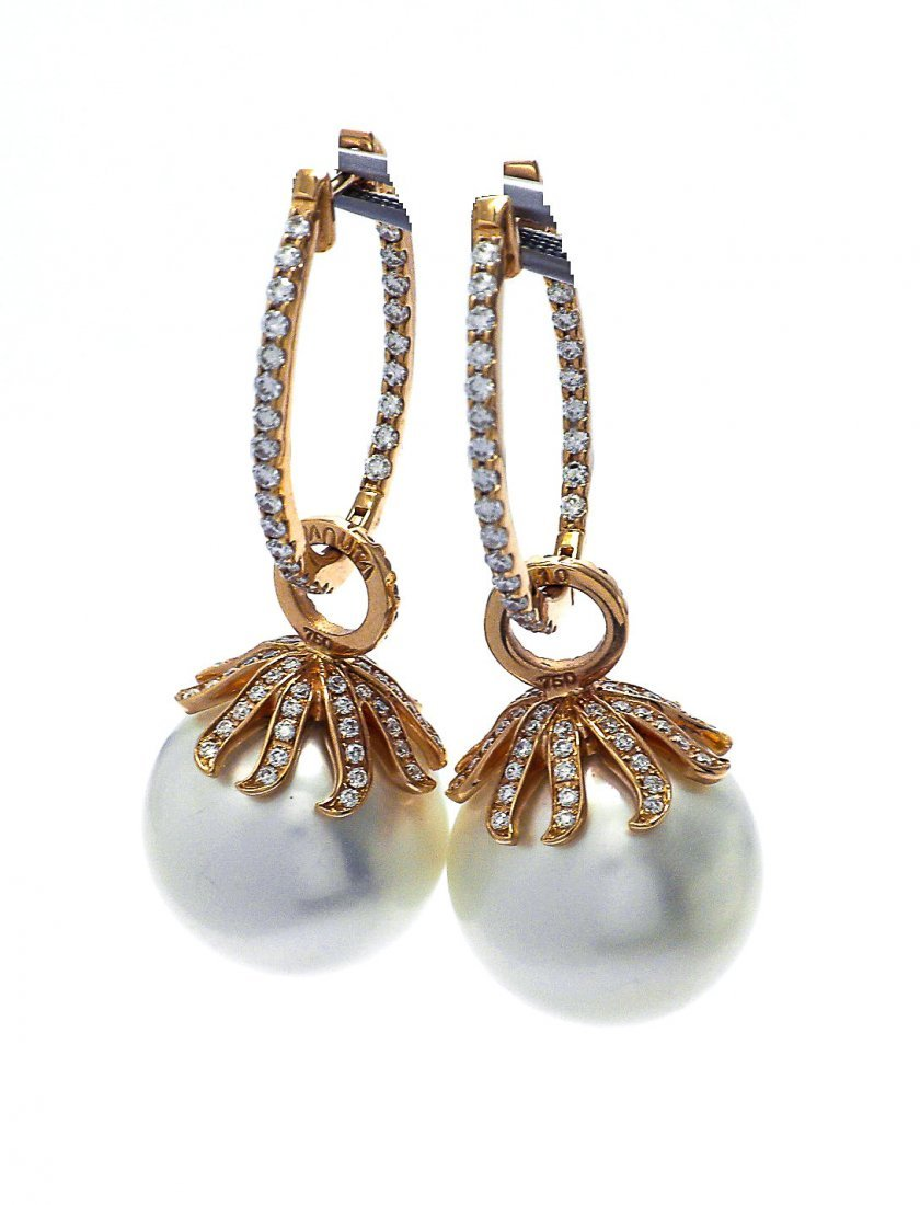 18 KTRose Gold South Sea Pearl Earrings