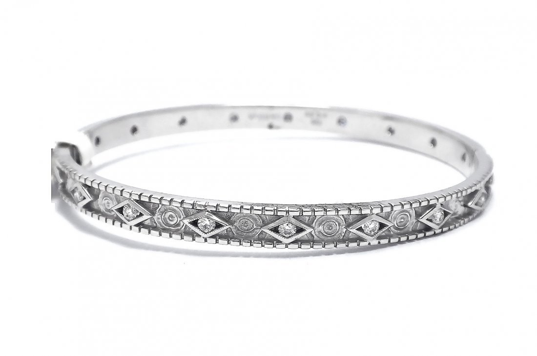 18KT White Gold Bangle  Bracelet W/Diamonds