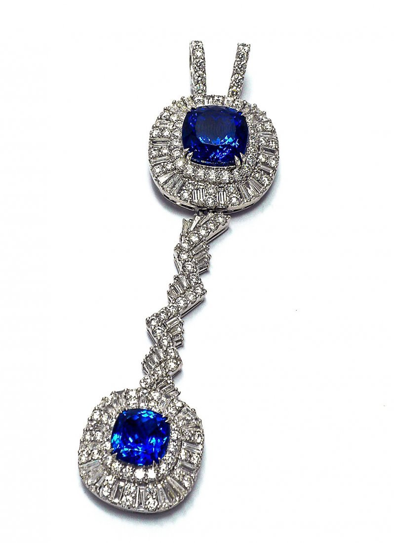 Rare Platinum, Tanzanite & Diamond Pendant/Enhancer