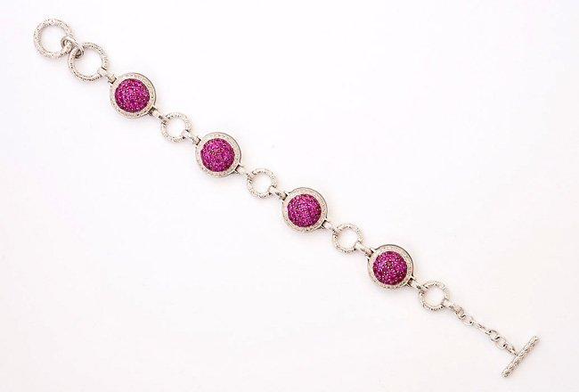 Sexy Ruby & Diamond Silver Bracelet w/ Enamel