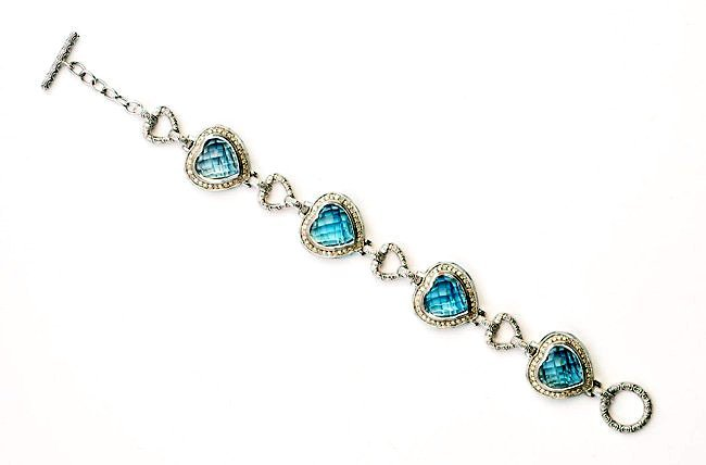 Custom Bracelet w/ Heart Shaped Topaz, Diamond & Enamel