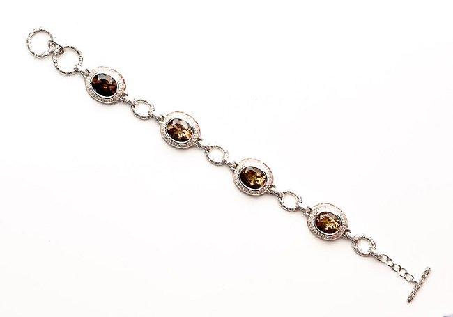 Amazingly Elegant Silver Bracelet w/Topaz & Diamonds
