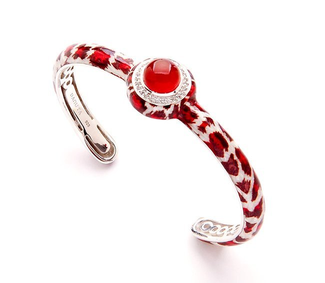 Fire Cheetah Carnelian / Sapphire & Silver Bracelet