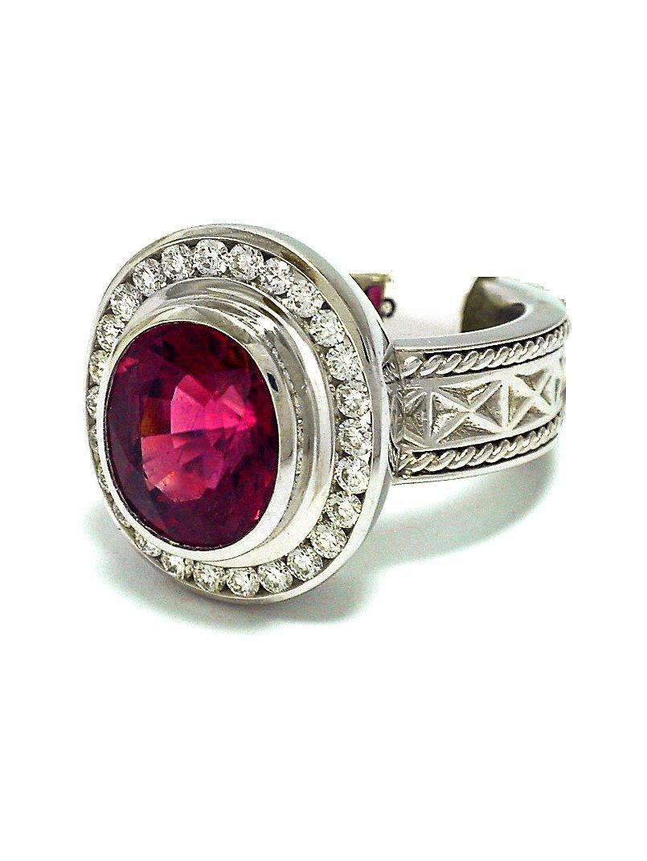 Stunning Platinum, Large Rubellite & Diamond Ring