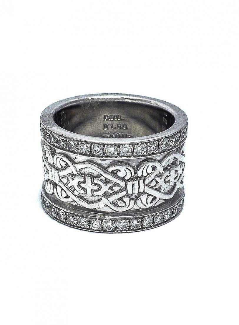 Celtic Design Solid Platinum & Diamond Band