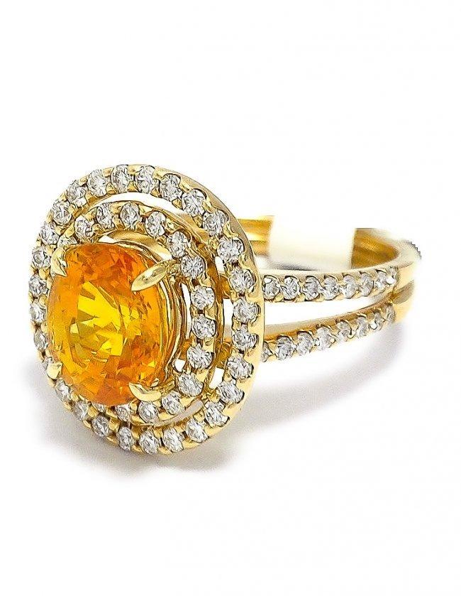 Hand-Made 18KT Gold Ring w/ Yellow Sapphire & Diamonds