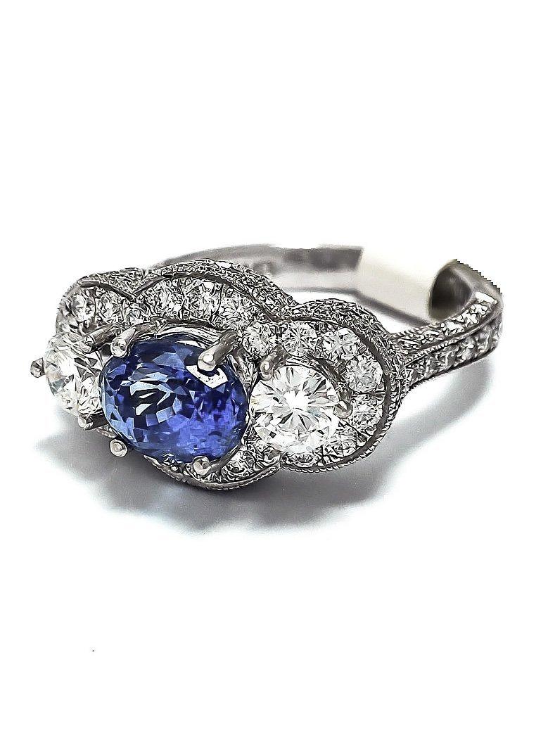 Platinum Ring w/ Non-Heated Sapphire Center & Diamonds