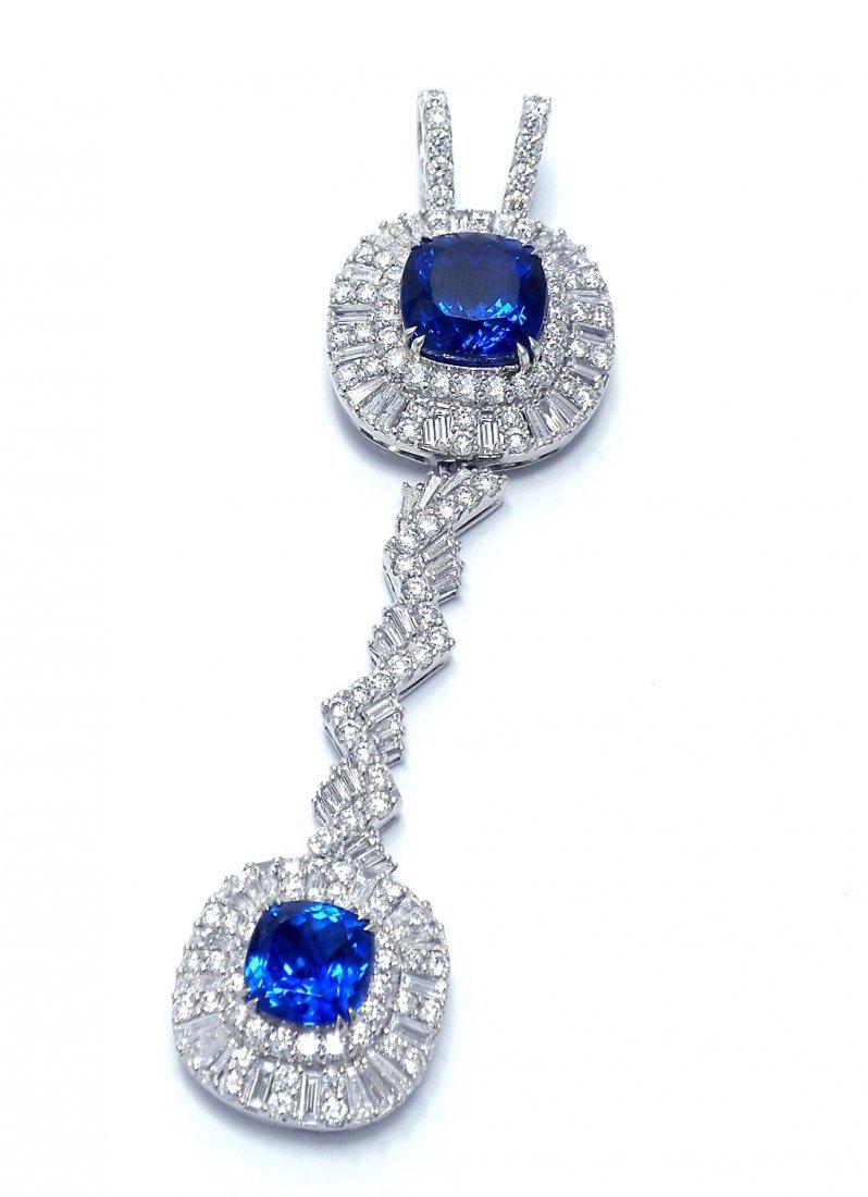 Rare Platinum, Tanzanite & Diamond Pendant/Enhancer
