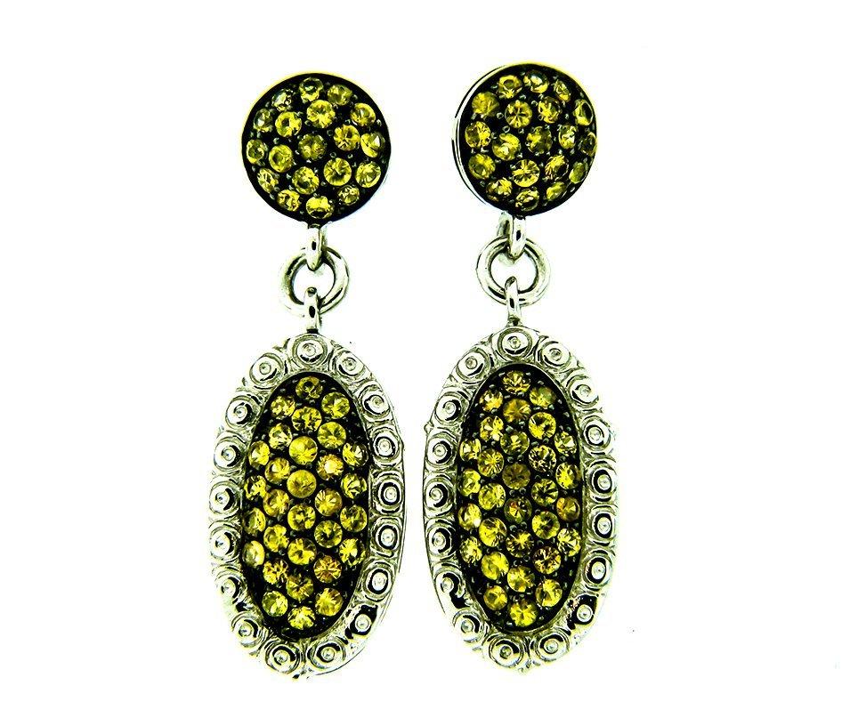 Dressy Sterling Silver Earrings w/ Yellow Sapphires