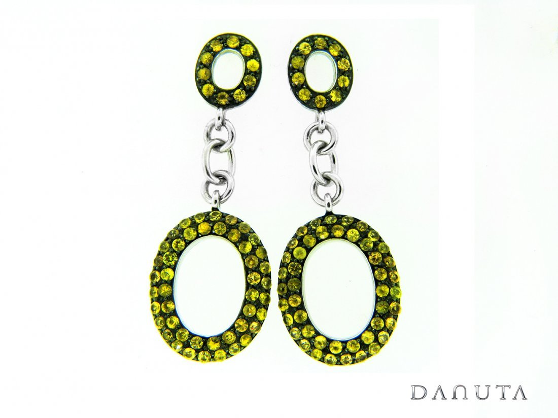 Designer Sterling Silver Earrings w/ Yellow Sapphires