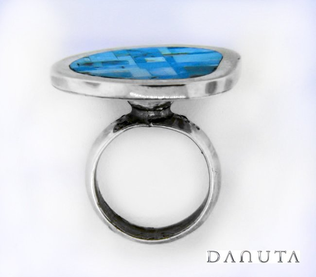 Famous Designer Silver Ring w/ Kingman Turquoise Inlay