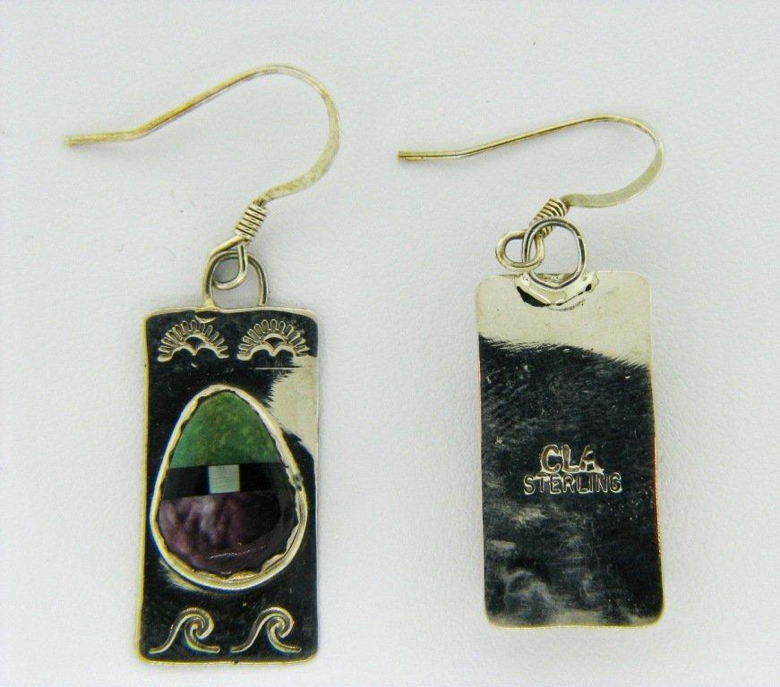 Beautiful Native American Silver Inlay Earrings