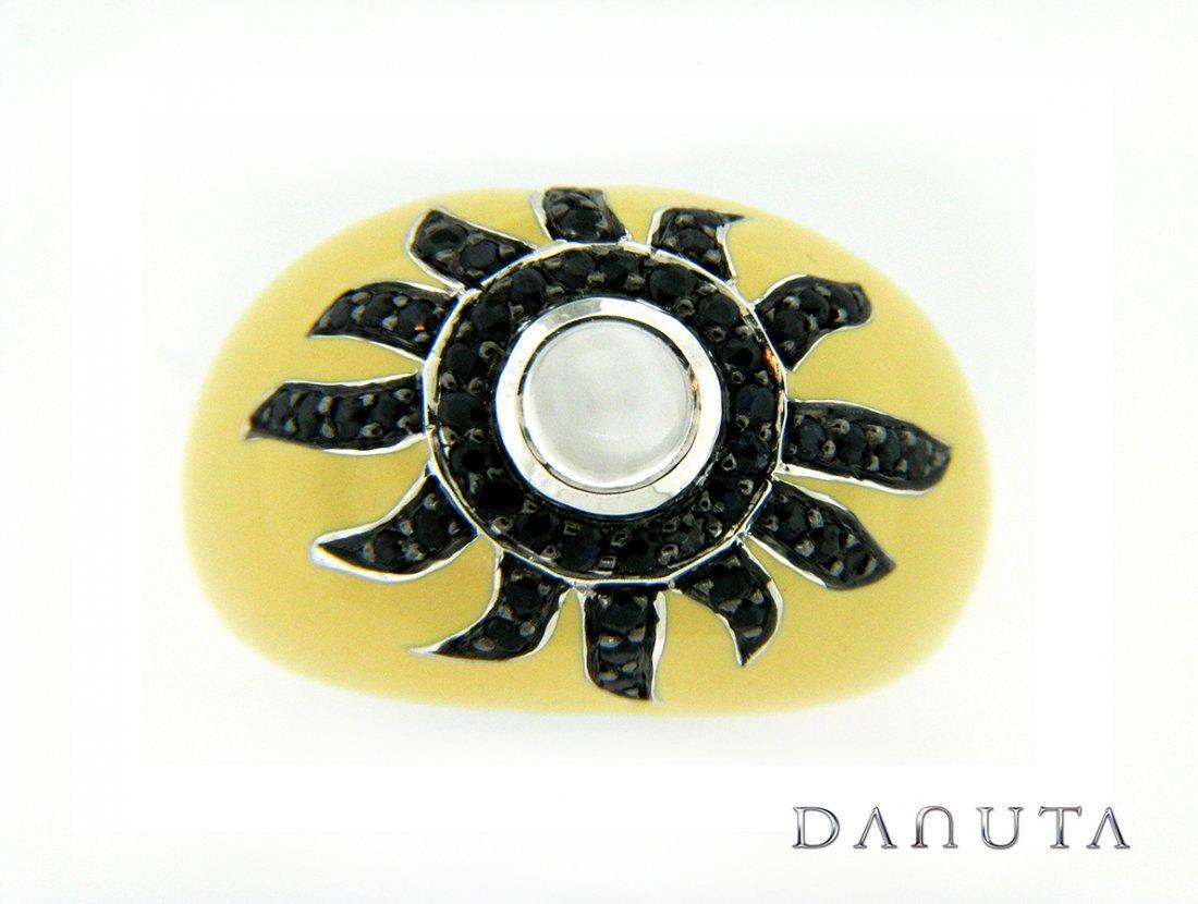Silver & Enamel Ring w/ Moonstone &  Sapphires