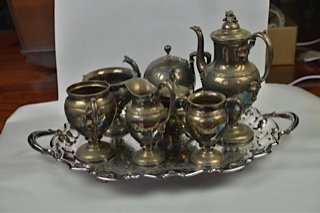 Silver platted Tea set with platter