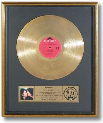John Lennon Yoko Ono RIAA Milk & Honey Rare Gold Album
