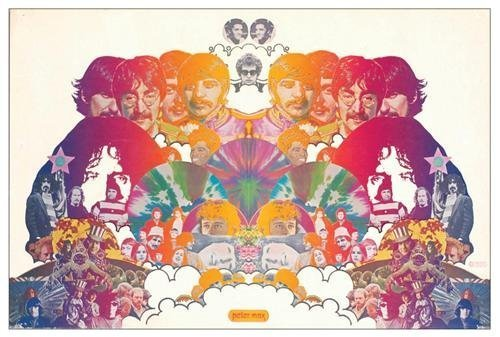The Beatles and Others Peter Max Cardboard Poster 1967