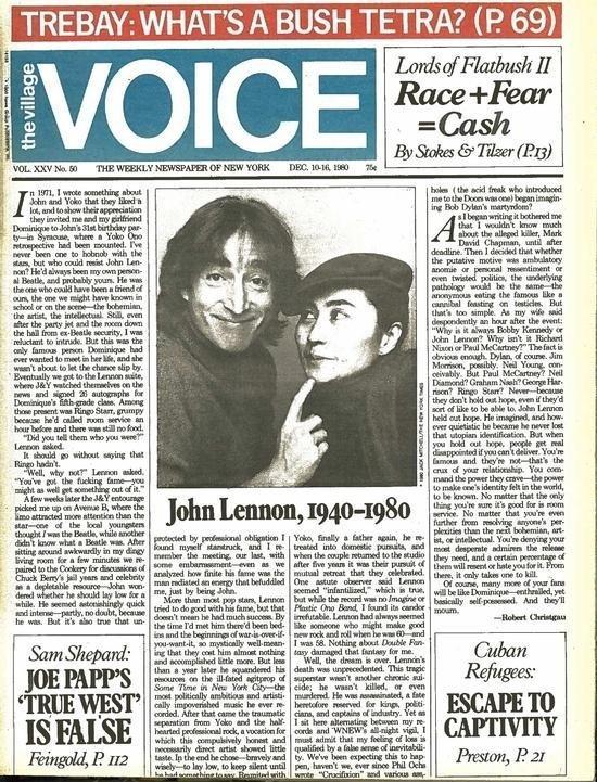 Rarest John And Yoko 1976 Tape Interview.Village Voice