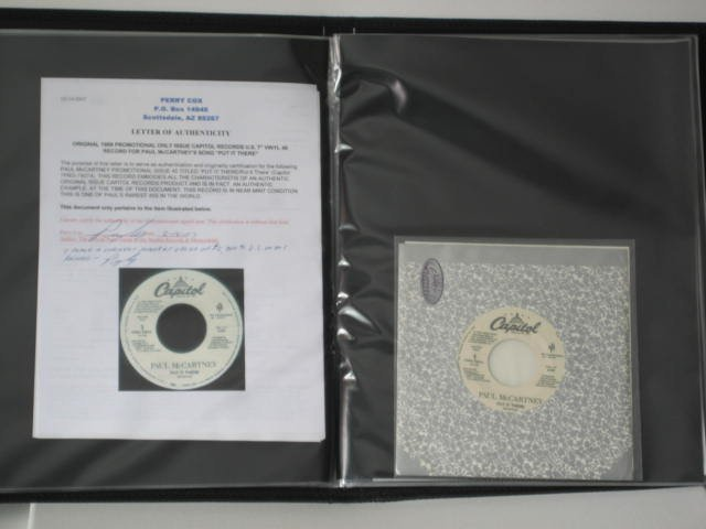 BEATLES RAREST 45 RPM IN THE WORLD PERRY COX COA
