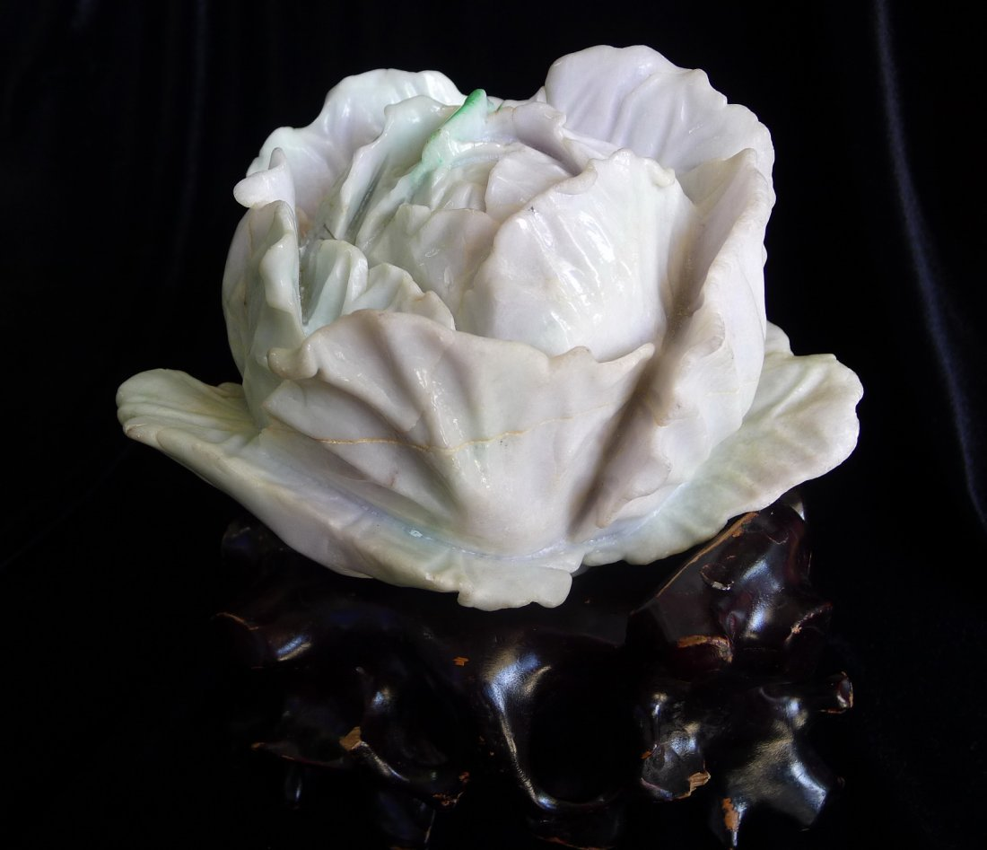 HUGE AND RARE ANTIQUE HUGE JADEITE CABBAGE FINE STONE