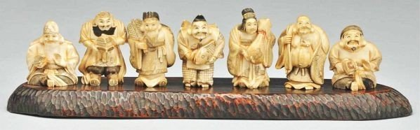 Very Rare 7 Carved Netsukes Immortal Original Wood Base