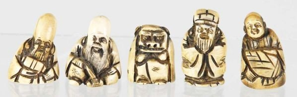 Rare of 5: Carved Netsuke Figures Qing Dynasty 19Th