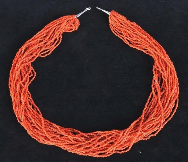 Impressive Chinese Coral Necklace Qing Dynasty 19th