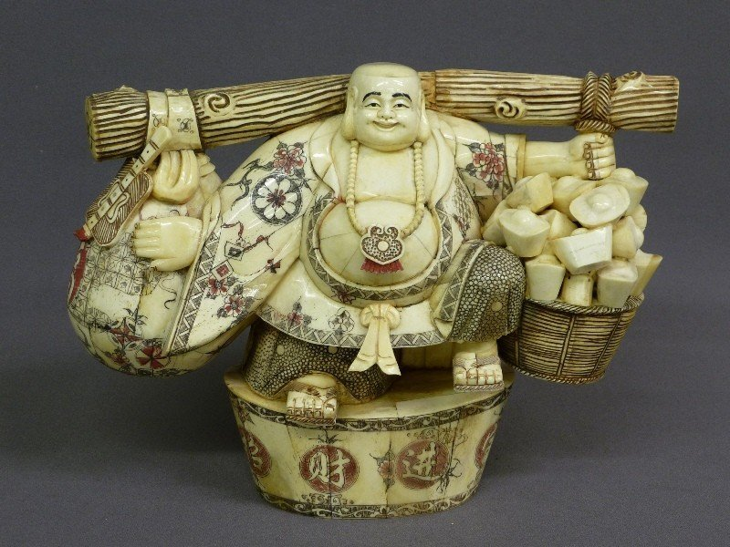 CHINESE HAND CARVED BONE BUDHA CARRYING BASKETS 20 Th