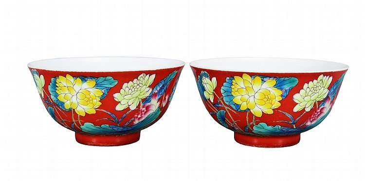 $18.4Million CORAL RED GROUND FAMILLE ROSE BOWLS KANGXI
