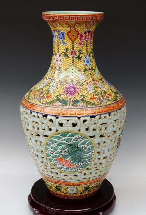 $83. Million Carved Chinese Qianlong Porcelain Vase