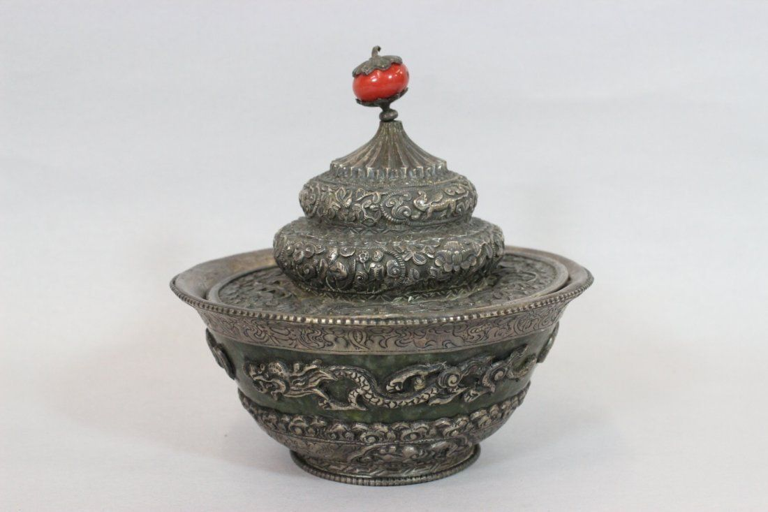 Exquisite Qing Dynasty rare Jade Carved Silver Bowl