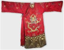 IMPERIAL RED ROYAL COURT ROBE QIANLONG PERIOD DRAGON