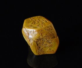 Qing Chinese Shou Shan Stone Carving Seal Stamp