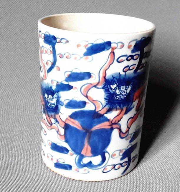 Qianlong Mark B/W Antique Porcelain Brush Pot Qing