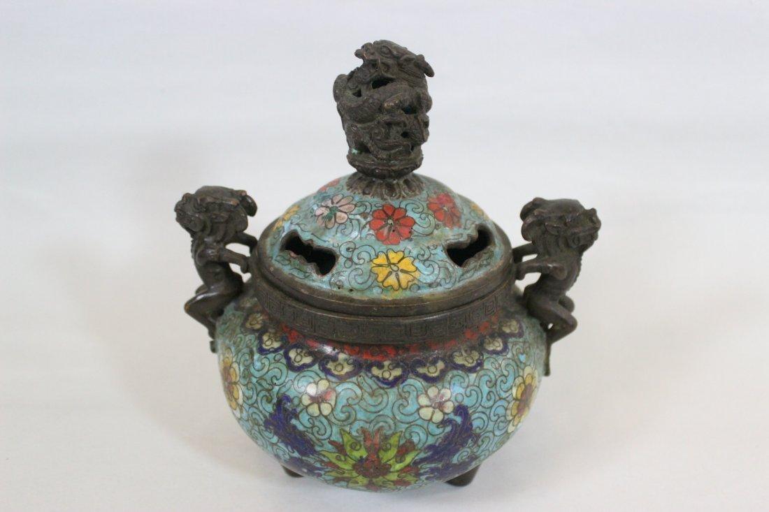 Antique Chinese Bronze Cloisonne Censer Kangxi Mark