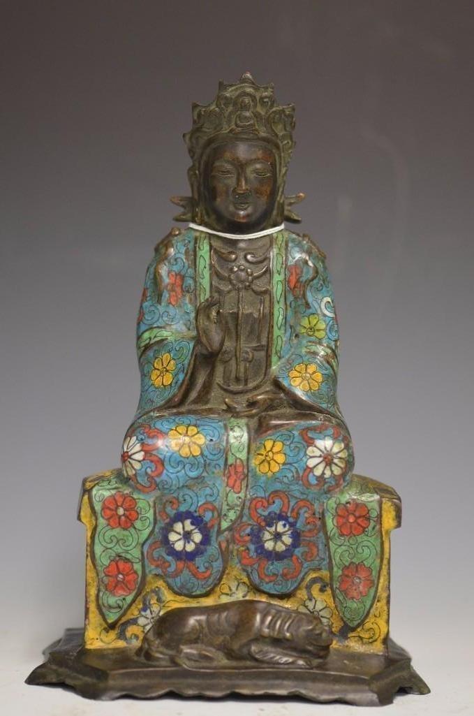 Qianlong Mark Chinese Bronze Cloisonne Seated Guan Yin