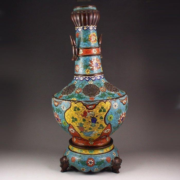 Pair Chinese Bronze Cloisonne Vase + Base Qianlong Mark