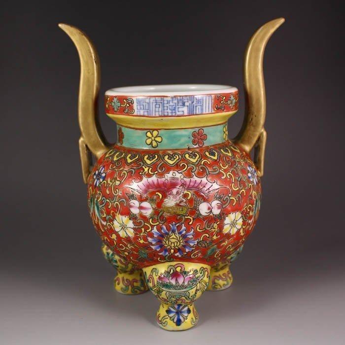 Superb Chinese Double Ear Porcelaine Qianlong Mark Qing