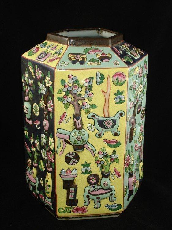 Rare Chinese Hexagon Vase Jiaqing 1796-1921 Incise Mark