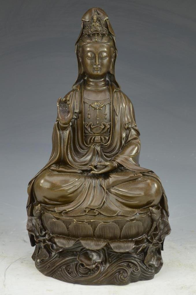 Antique Bronze Seated Quan Yin on Lotus Bed 19th